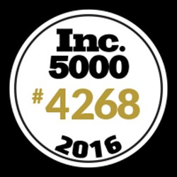2016 Inc 5000 badge showing TeraThink as #4268