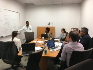 A TeraThink team at the hack-a-thon planning their sprint
