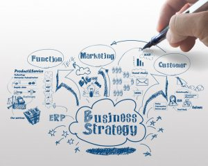 Drawing idea board of business strategy process of which Enterprise Applications is a crucial part