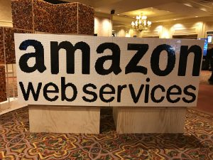 Amazon Web Services sign at conference