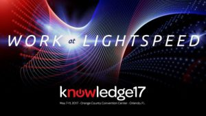 """The theme at ServiceNow's Knowledge17 Conference was """"Work at Lightspeed"""""""