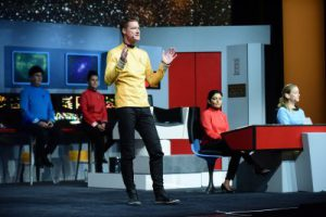 SAP TechEd 2017 Executive Keynote. Björn Goerke speaks dressed as Star Trek's Captain Kirk on the Bridge of the Starship Enterprise