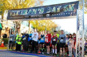 The runners ready to go at the start line for the 2016 Veterans Day 5K
