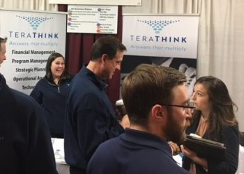 The TeraThink team talking to potential recruits at the 2018 TeraThink at a Virginia Tech Recruiting Event